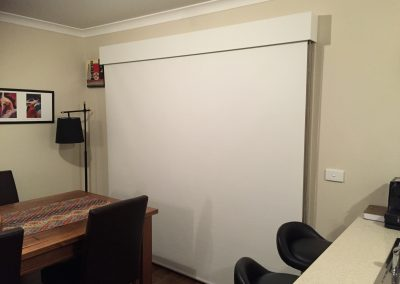 Roller Blind with timber bonded fabric covered pelmet
