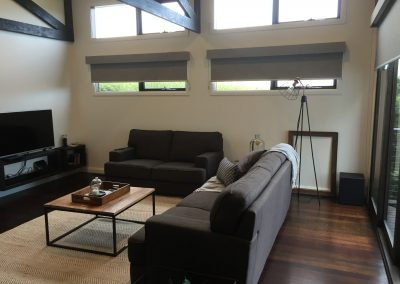 Roller blinds with fabric covered timber bonded pelmets